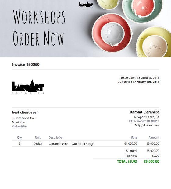 Image showing how you can use online invoices to upsell with big beautiful header from KaroArt Ceramic