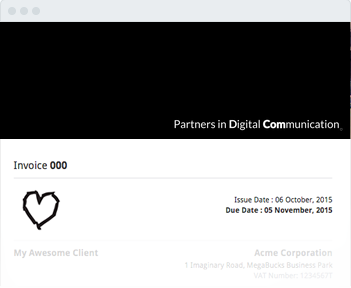 Image shows the invoice header of Partners In Digital Communication