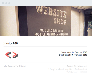 Image shows the invoice header of the Website Shop