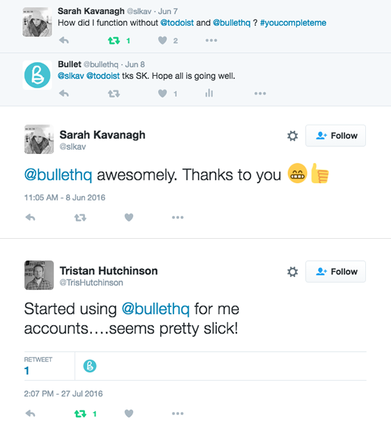 This image is of people recommending Bullets small business software on twitter
