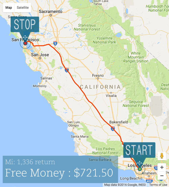 View of mileage entry using Google maps and calculating tax back