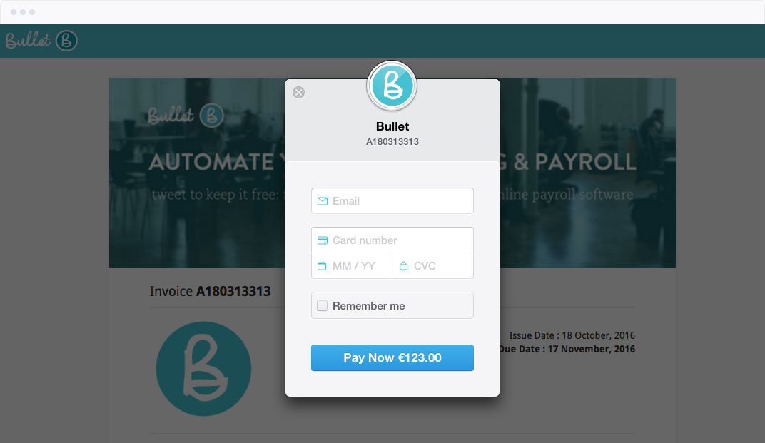 Image of Bullet online invoices taking a payment
