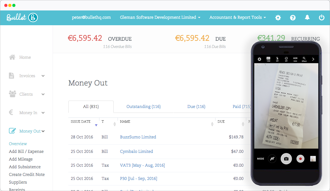 Screen grab of mobile receipts capture with Bullets overview chart