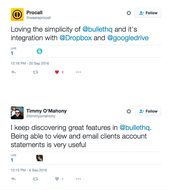 Twitter screen grab is of people recommending Bullets small business software