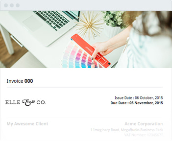Image shows the invoice header of Elle & Co