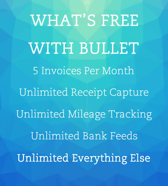 Image displays message that Bullets Small Business Accounting Software is 100% free, no limits or tricks