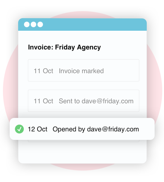 Screen grab showing online invoice read receipts