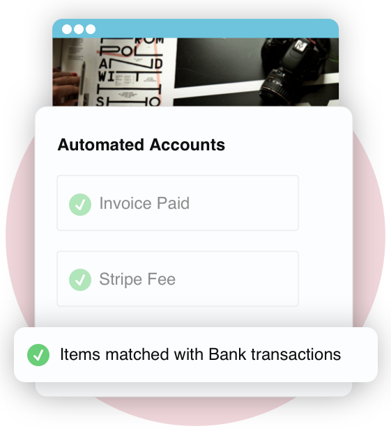 Image displays message that Bullets invoicing payments automatically update your accounting for you.