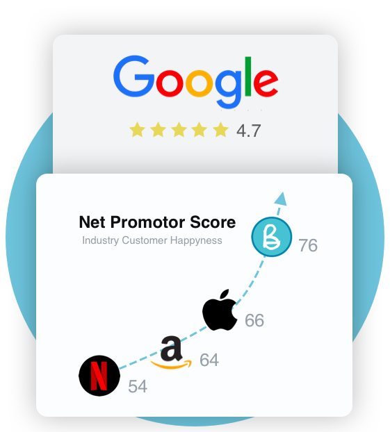Table of Net Promoter Scores, Bullet beating Netflix, Zappos, Southwest, Amazon, and the iPhone